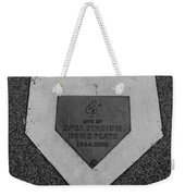Shea Stadium Home Plate In Black And White Weekender Tote Bag by Rob Hans
