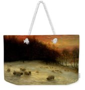 Sheep In A Winter Landscape Evening Weekender Tote Bag