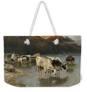 Shepherd With Cows On The Lake Shore Weekender Tote Bag