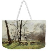Shepherd With His Flock In The Evening Light Weekender Tote Bag