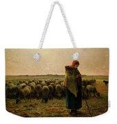Shepherdess With Her Flock Weekender Tote Bag by Jean Francois Millet