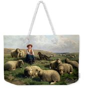 Shepherdess With Sheep In A Landscape Weekender Tote Bag