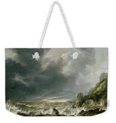 Ship In Distress Off A Rocky Coast Weekender Tote Bag