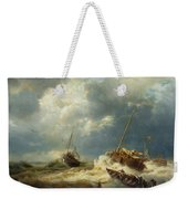 Ships In A Storm On The Dutch Coast Weekender Tote Bag