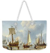 Ships In Calm Water With Figures By The Shore Weekender Tote Bag