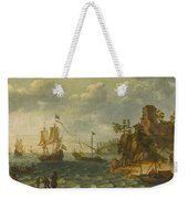 Ships Moored Off A Rocky Coastline With Fishermen Unloading Their Catch Weekender Tote Bag