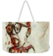 Shocked Scared Screaming Boy With Curly Red Hair In Glasses And Overalls In Acrylic Paint As A Loose Weekender Tote Bag