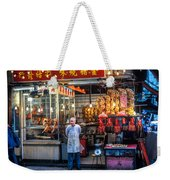 Shop Owner Standing In Front Of Poultry Shop On Temple Street Night Market Kowloon Hong Kong China Weekender Tote Bag