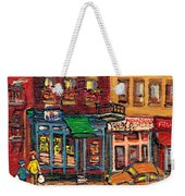 St Viateur Bagel Shop And Mehadrins Kosher Deli Best Original Montreal Jewish Landmark Painting  Weekender Tote Bag