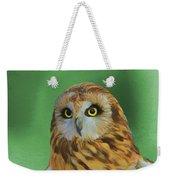 Short Eared Owl On Green Weekender Tote Bag