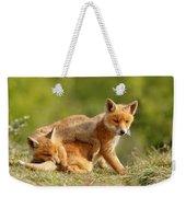 Sibbling Love - Playing Fox Cubs Weekender Tote Bag