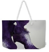 Side View Purple And White Iris Weekender Tote Bag