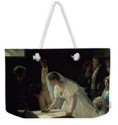 Signing The Register Weekender Tote Bag by Edmund Blair Leighton