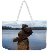 Silent Watch - Inukshuk On Boulder At Long Lake Hiking Trail Weekender Tote Bag