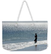 Silhouette Of A Man Fishing Weekender Tote Bag