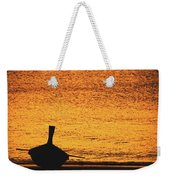 Silhouette Of A Thai Wooden Boat  On The Beach Against Golden Sunset Koh Lanta, Thailand Weekender Tote Bag