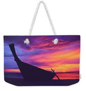 Silhouette Of A Wooden Thai Boat  On The Beach During Beautiful And Dramatic Sunset Weekender Tote Bag