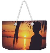 Silhouette Of A Young Boy Watching Beautiful Caribbean Sunset Weekender Tote Bag