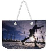 Silhouette Of Of Women Cross County Weekender Tote Bag