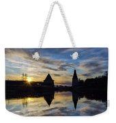 Silhouette Of Stronghold And Sunset. Pskov Kremlin. Russia Weekender Tote Bag