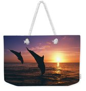Silhouette Of Two Bottlenose Dolphins Weekender Tote Bag