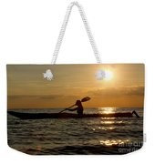 Silhouette Of Woman Kayaking In The Ocean. Weekender Tote Bag