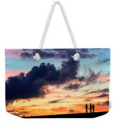 Silhouettes Of Three Girls Walking In The Sunset Weekender Tote Bag
