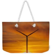 Silhouettes Of Wind Turbines With A Beautiful Sunset Weekender Tote Bag