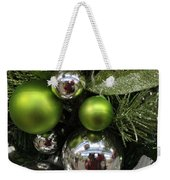 Silver And Green For Christmas Weekender Tote Bag