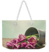 Silver Container With Fresh Tulips Weekender Tote Bag