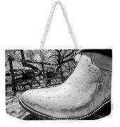 Silver Cowboy Boot Weekender Tote Bag