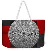 Silver Mayan-aztec Calendar On Black And Red Leather Weekender Tote Bag
