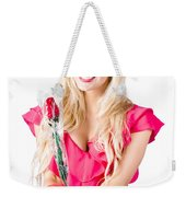 Sincere Woman Saying Thank You With Flower Weekender Tote Bag