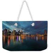 Singapore City Skyline At Evening Twilight Weekender Tote Bag