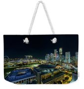 Singapore Modern Skyline By The River At Night Weekender Tote Bag