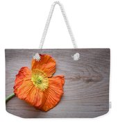 Single Poppy On Wood Weekender Tote Bag