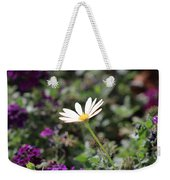 Single White Daisy On Purple Weekender Tote Bag