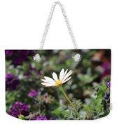 Single White Daisy On Purple Weekender Tote Bag
