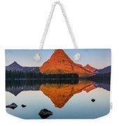 Sinopah Mountain Reflected In Two Medicine Lake At Sunrise Weekender Tote Bag