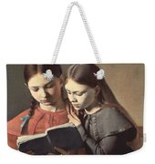 Sisters Reading A Book Weekender Tote Bag by Carl Hansen
