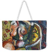Sitting Nude With Flowers And Chair Weekender Tote Bag