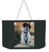 Sitting Pretty - Black And White Puppy Weekender Tote Bag
