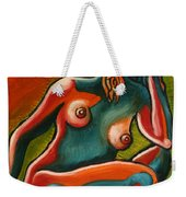 Sitting Woman In Fixed Motion Weekender Tote Bag