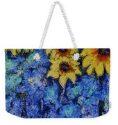 Six Sunflowers On Blue Weekender Tote Bag