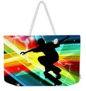Skateboarder In Criss Cross Lightning Weekender Tote Bag by Elaine Plesser