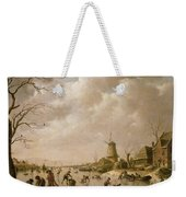Skaters On A Frozen Canal Weekender Tote Bag by Hendrik Willem Schweickardt