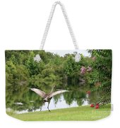 Skipping Sandhill Crane By Pond Weekender Tote Bag