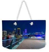skyline and river coast scenes in Jacksonville Florida Weekender Tote Bag