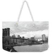 Skyline Nyc Brooklyn Bridge Bw Weekender Tote Bag