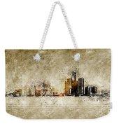 skyline of Detroit in modern and abstract vintage-look Weekender Tote Bag